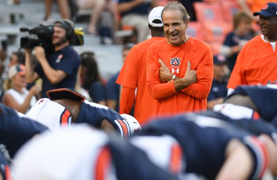 Auburn defensive coordinator Kevin Steele watches warm ups before the Arkansas game Saturday, Sept. 22, 2018, at Jordan-Hare Stadium in Auburn, Ala. (Julie Bennett/Montgomery Advertiser)
