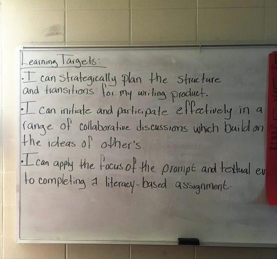 During training in the High Schools That Work program, educators were taught to clearly display learning targets in their classrooms to improve student achievement. Here are the targets for Devlin McMillian's English 11 class at Robert E. Lee High School.