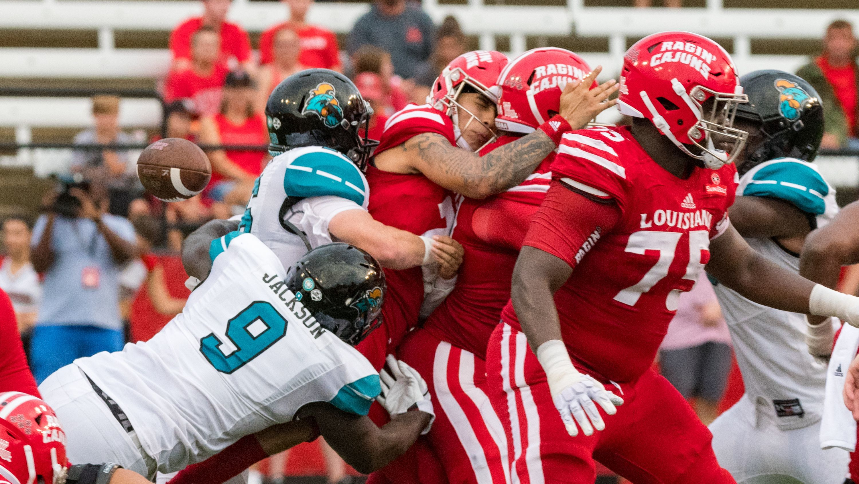 Coastal Carolina sacked Louisiana-Lafayette quarterback Andre Nunez three times in a 30-28 win last week.