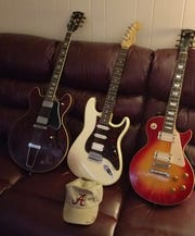 Some of the guitars owned by Montgomery blues artist Stanford Barnes.