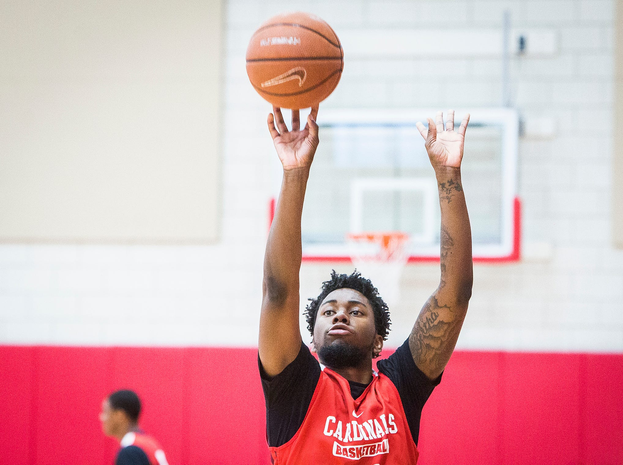 Ball State's Kani Acree shoots three-pointers during the team's first open practice Tuesday, Sept. 25, 2018.