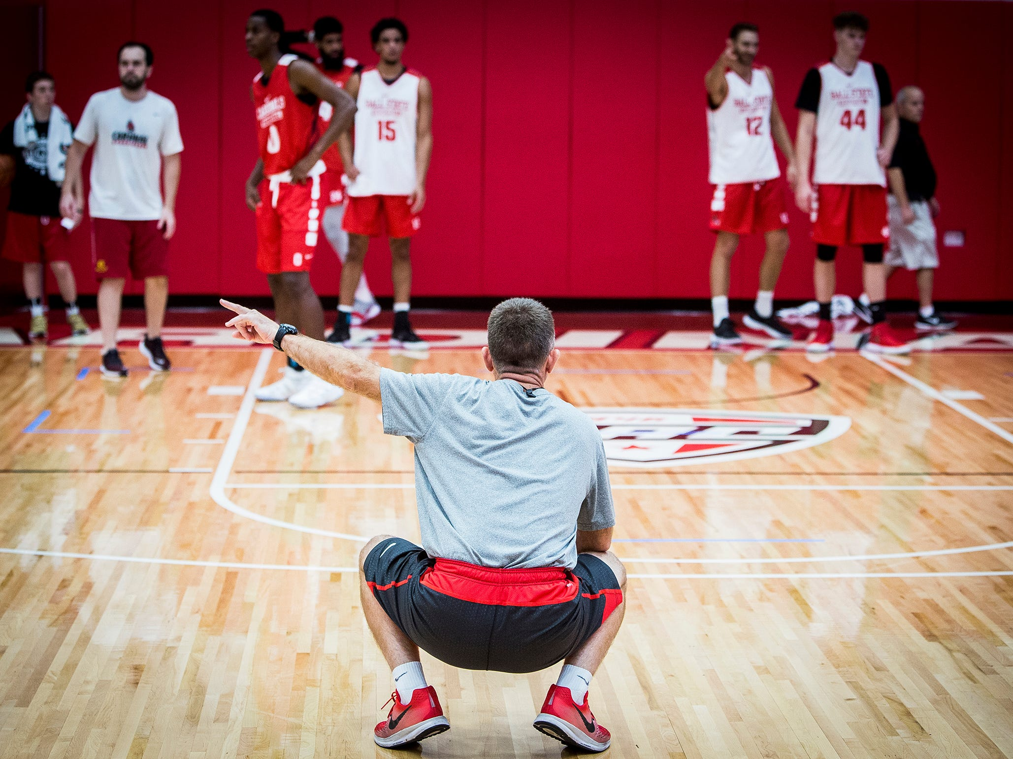 Ball State head basketball coach James Whitford during the team's first open practice Tuesday, Sept. 25, 2018.
