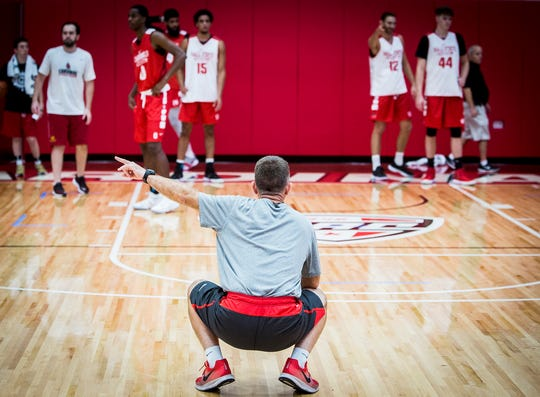 FILE -- Ball State head basketball coach James Whitford coaches his team during a practice Sept. 25, 2018.