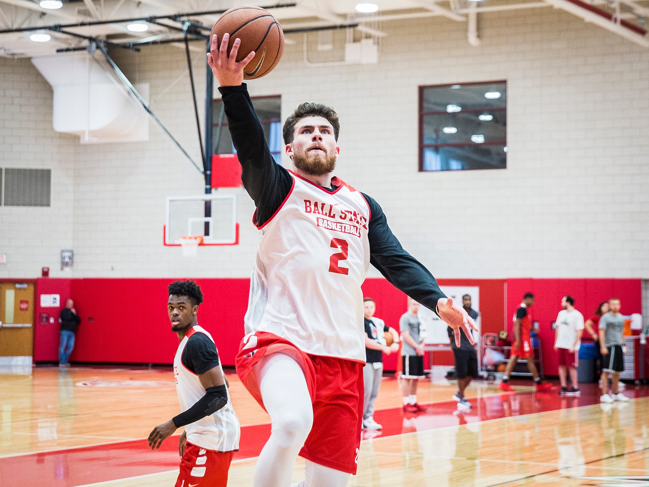 Ball State's Taylor Persons goes for a layup during the team's first open practice Tuesday, Sept. 25, 2018.