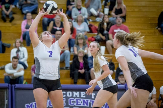 Central's McKenna McNabb sets a ball against Wapahani Monday night at Muncie Central High School.