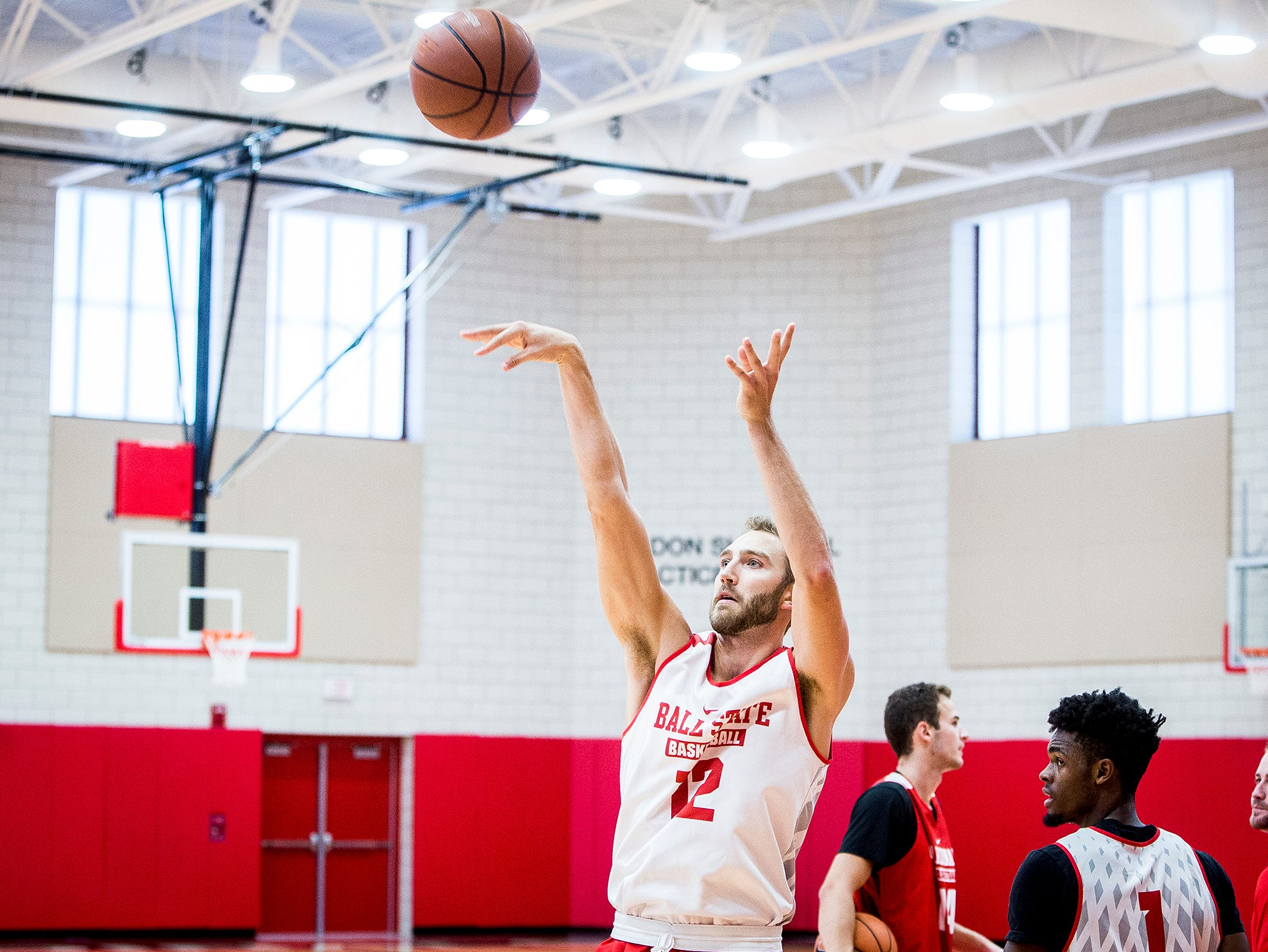 Ball State's Brachen Hazen takes a shot during the team's first open practice Tuesday, Sept. 25, 2018.
