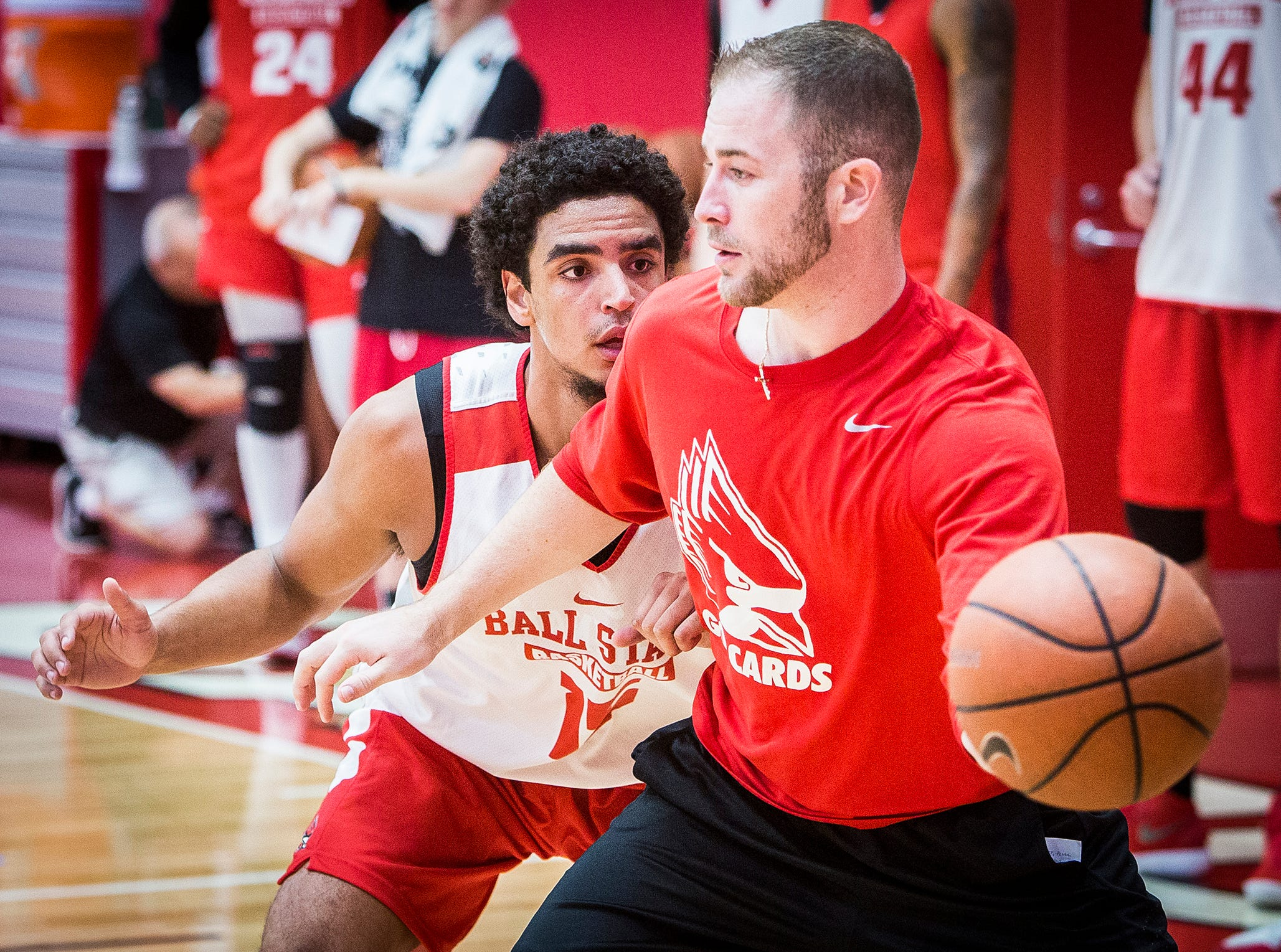Ball State's Zach Gunn works on defense during the team's first open practice Tuesday, Sept. 25, 2018.