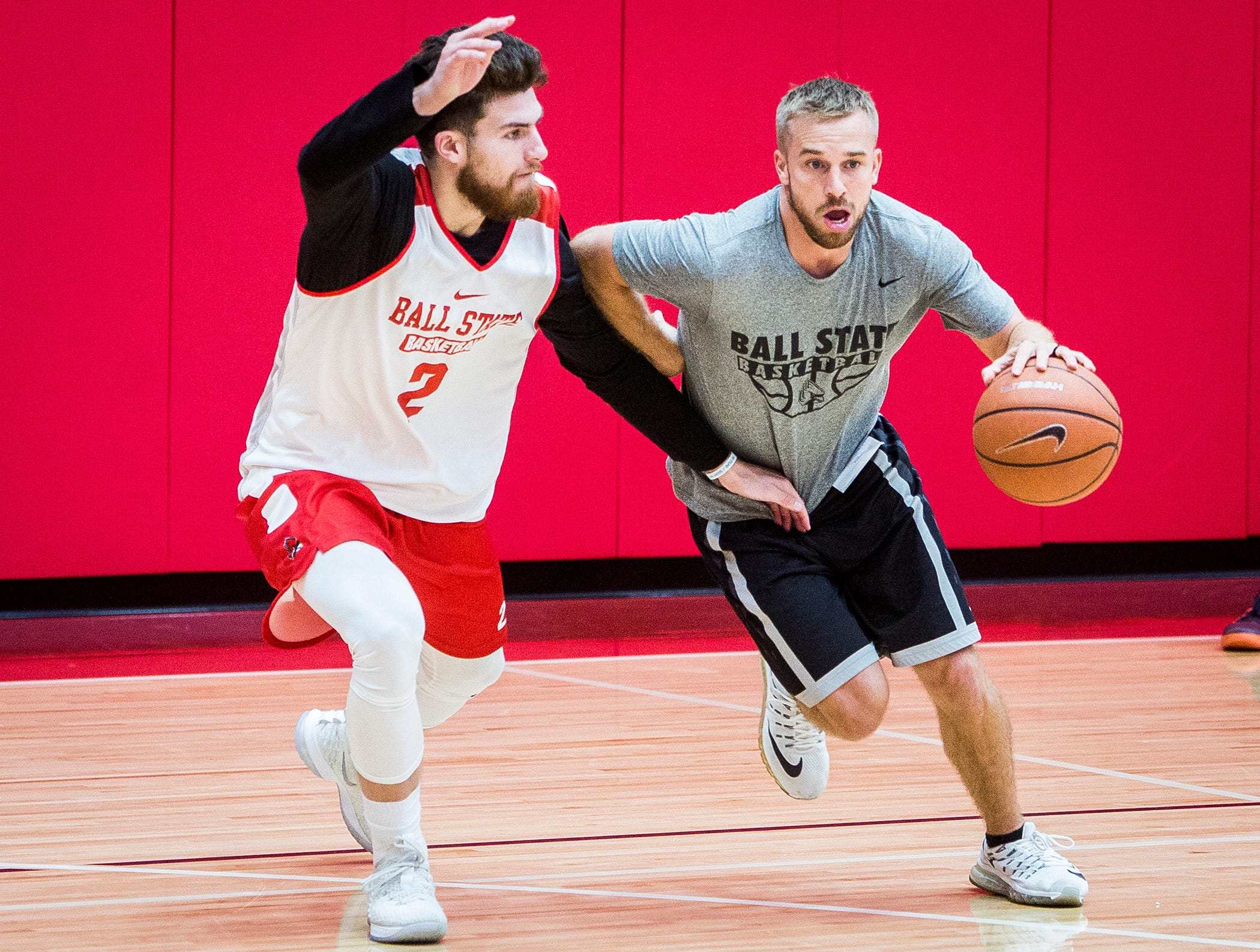 Ball State's Taylor Persons works on defense during the team's first open practice Tuesday, Sept. 25, 2018.