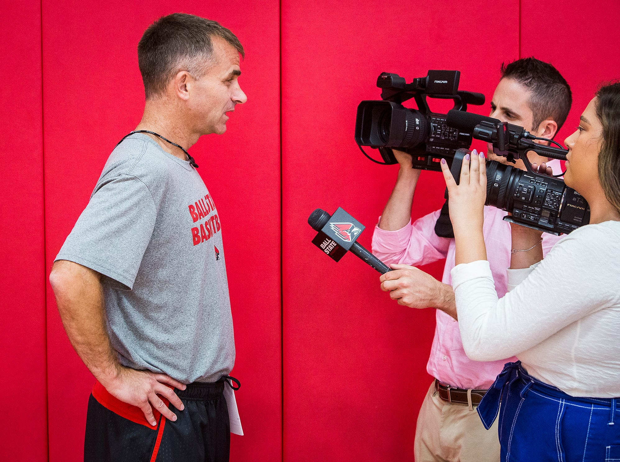 Ball State head basketball coach James Whitford chats with media during the team's first open practice Tuesday, Sept. 25, 2018.