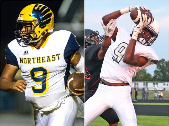 Northeast quarterback Heath Williams (left) and Clarksville wide receiver Donte Hurt (right)