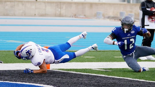 TSU receiver Chris Rowland dives into the end zone for a touchdown against Eastern Illinois.