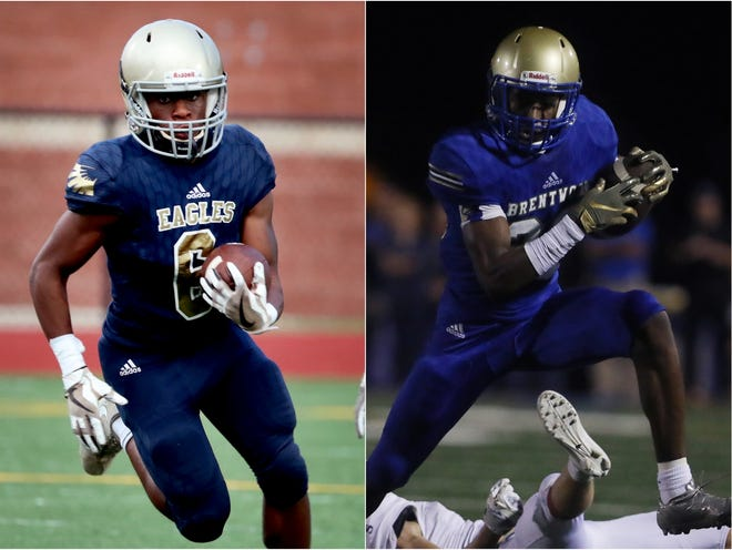 Independence wide receiver Isaiah Collier (left) and Brentwood wide receiver Avery Williams (right).
