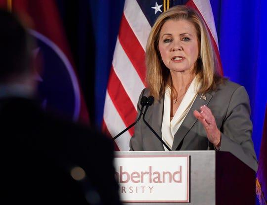 Republican U.S. Rep. Marsha Blackburn speaks during Tuesday's Senate debate at Cumberland University in Lebanon.