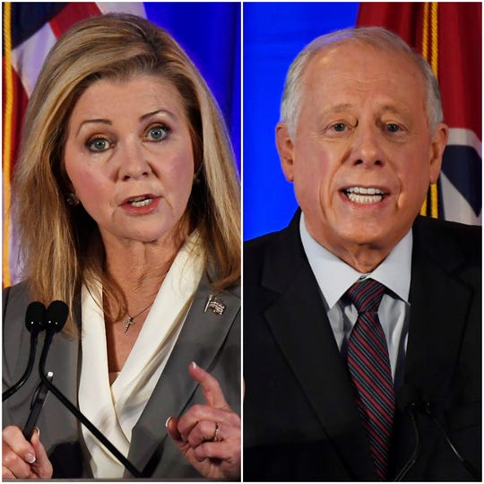 Republican Marsha Blackburn, left, and Democrat Phil Bredesen.