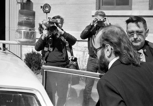 Edmund Zagorski leaves the Robertson County Courthouse in Springfield on Feb. 29, 1984, as his trial on two counts of first-degree murder comes to an end for the day.