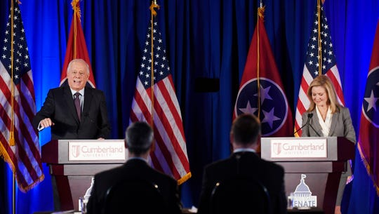 Democratic Phil Bredesen and Republican Marsha Blackburn speak during Tuesday's debate at Cumberland University in Lebanon.
