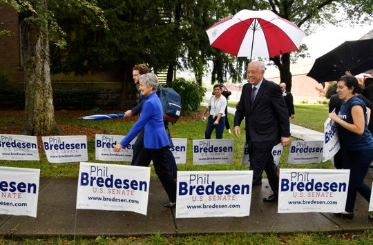 Democrat Phil Bredesen and his wife, Andrea Conte, arrive for the U.S. Senate debate at Cumberland University in Lebanon on Tuesday, Sept. 25, 2018.