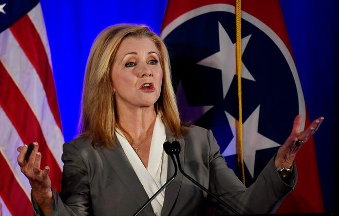 Republican candidate Marsha Blackburn speaks at the 2018 Tennessee U.S. Senate Debate at Cumberland University Tuesday, Sept. 25, 2018, in Lebanon, Tenn.