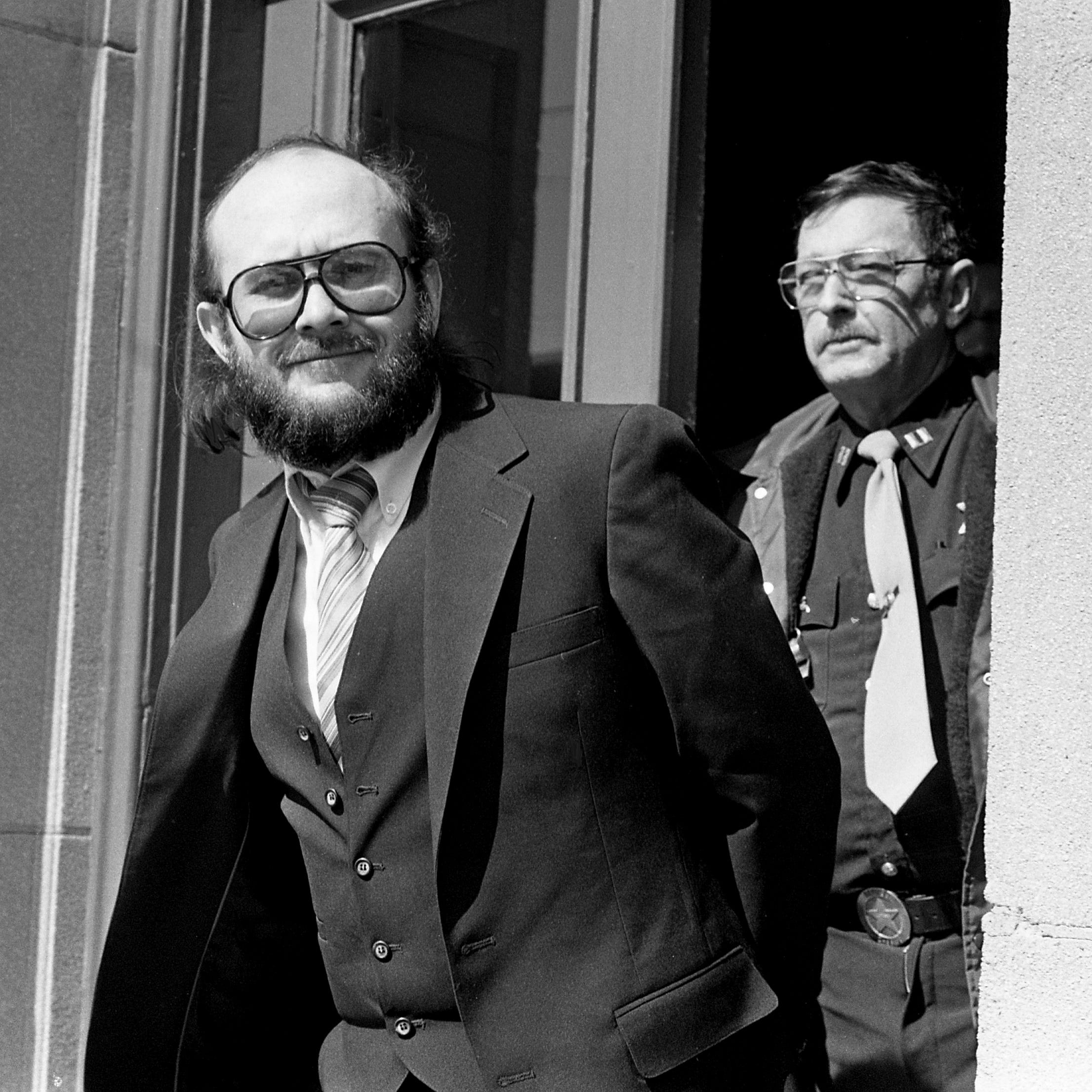 Edmund Zagorski leaves the Robertson County Courthouse in Springfield on Feb. 29, 1984, as his trial on two counts of first-degree murder comes to an end for the day. Zagorski is accused of killing John Dale Dodson, 28, a Hickman County logger and Jimmy Porter, 35, a Dickson tavern owner.