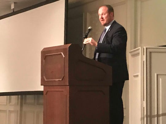 Agriculture commissioner candidate and state Rep. Matt Caldwell gives a State of the Industry address at the 2018 Florida Fruit & Vegetable Association's annual convention in Naples on Tuesday, Sept. 25, 2018.