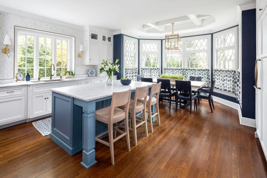 This Ridgewood kitchen, designed by Anthony Albert Studios in Waldwick, features a four-foot Gallery sink and 60-inch Wolf range.