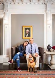 Bobbi Brown, Steven Plofker and dog Biggie at The George Inn in Montclair