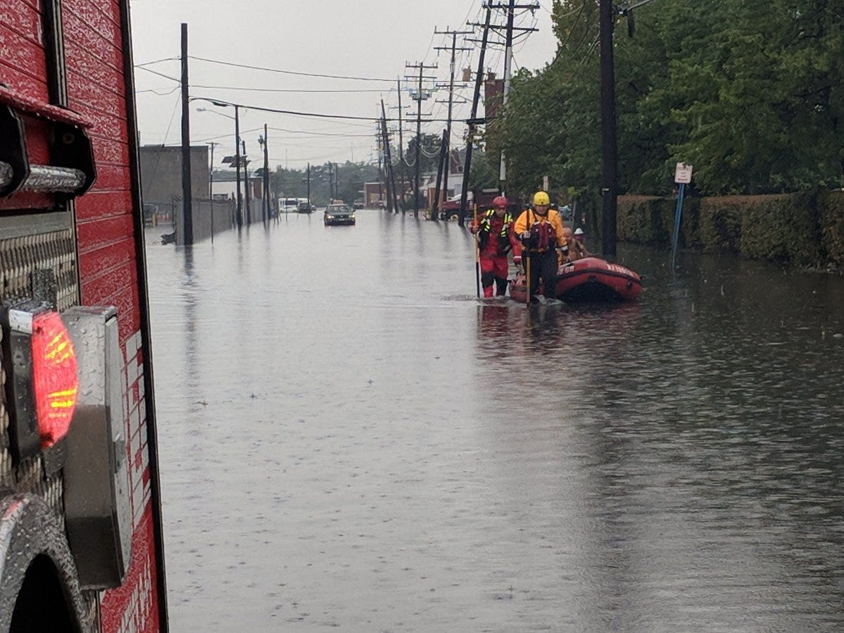 Members of Marine One making a water rescues on South Newman Street in Hackensack on Sept. 25.,2018.