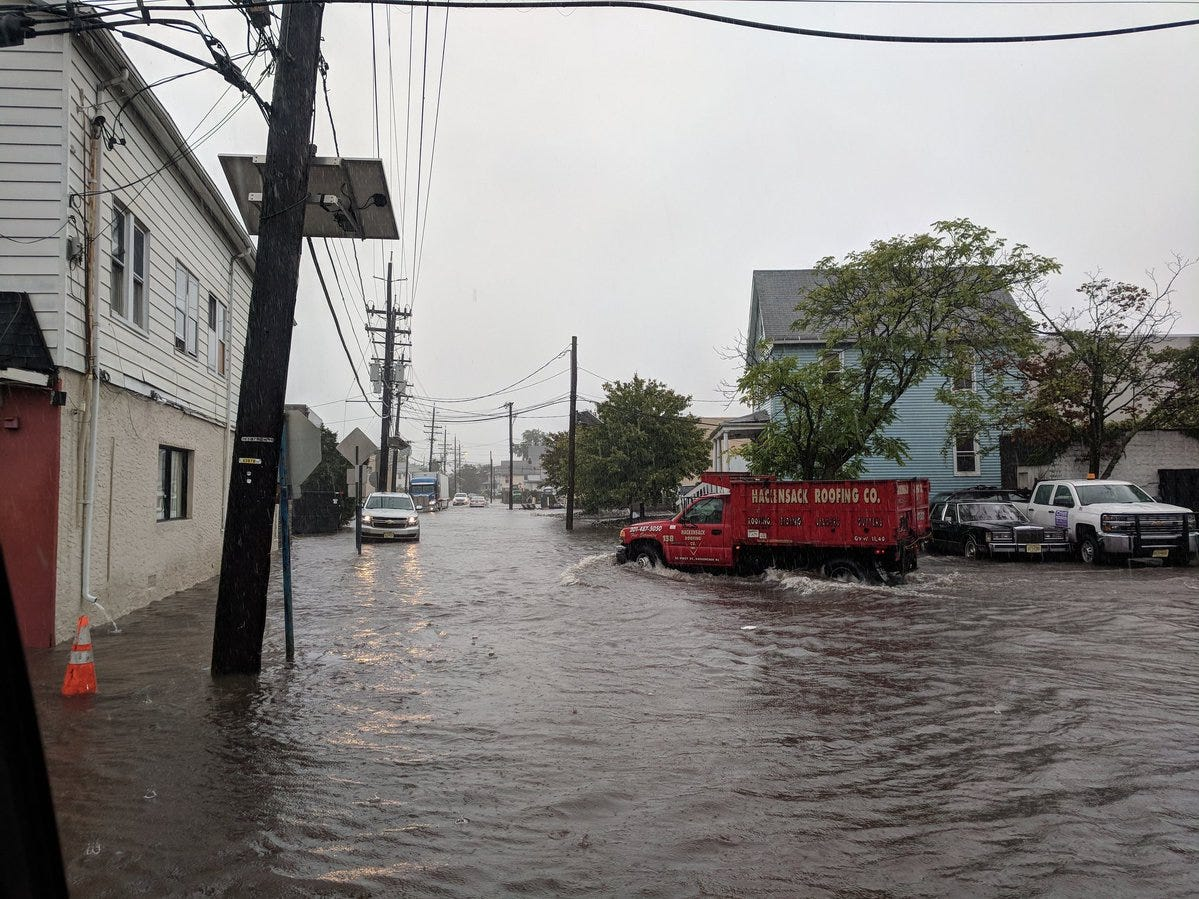 Flooded roads in Hackensack on Sept. 25, 2018.