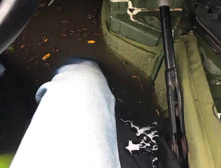 Water leaked into a police rescue vehicle as severe flooding hit Bogota Sept. 25, 2018.