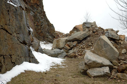 A rock slide in Riverdale's Overlook Drive on March 26, 2013.