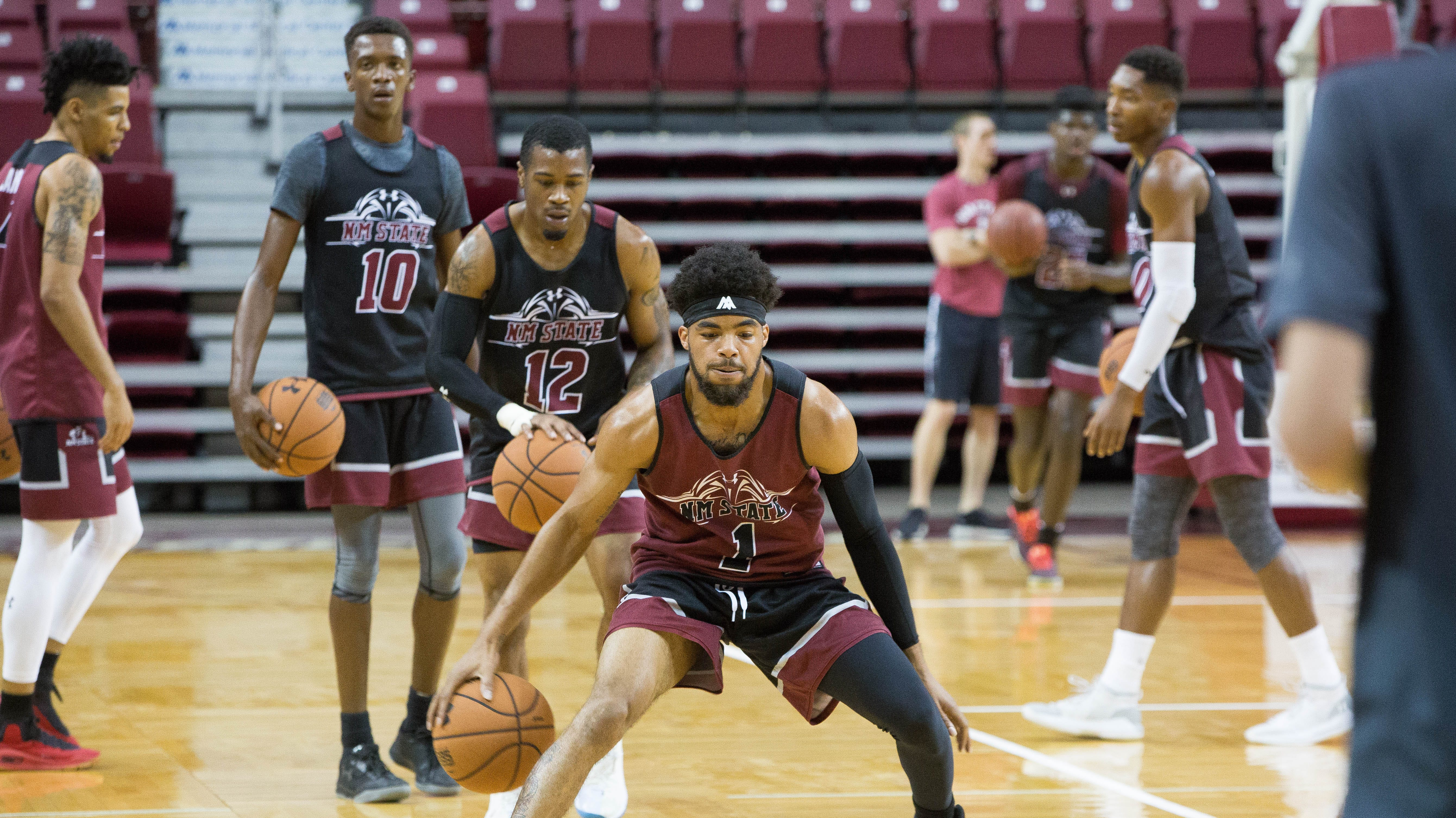 Shunn Buchanan, guard for New Mexico State University at Tuesday September 25, 2018 practice at the Pan American Center.