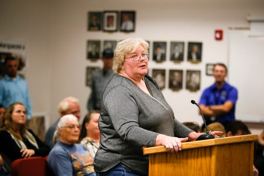 "Bloomfield resident Patricia ""Trish"" Clark speaks in support of the city's police department Monday during a City Council meeting at City Hall."