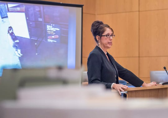 Prosecutor Bridgette Jensen gives her opening statement during the Mary Rice trial at the Escambia County Courthouse in Pensacola on Tuesday, September 25, 2018.