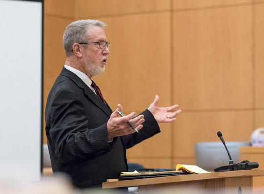 Defense attorney Kenneth Brooks gives his opening statement during the Mary Rice trial at the Escambia County Courthouse in Pensacola on Tuesday, September 25, 2018.