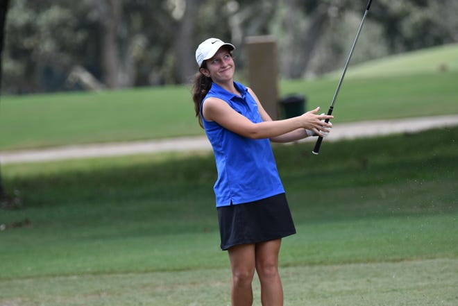 Pace senior Elise Schultz, shown competing earlier this season in the FCA Girls Golf Championship at A.C. Read, continued her sensational season by shooting a 3-under 69 at Tiger Point East to win medalist honors and lead her team to the Region 1-2A Girls Golf Championship.