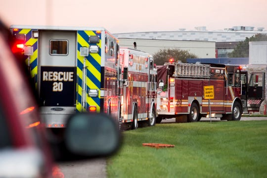 Units from Southeastern Adams and Hanover Area Fire and Rescue respond to the scene of a reported fire on Elm Avenue in Conewago Township September 25, 2018.