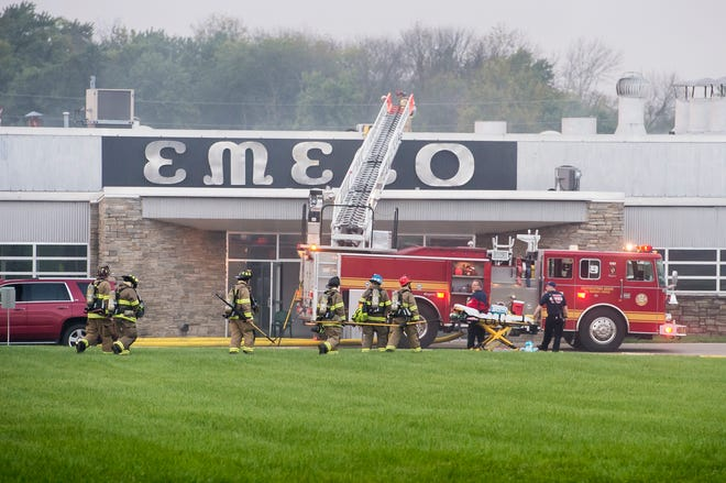 Units from Southeastern Adams and Hanover Area Fire and Rescue respond to the scene of a reported fire at a commercial building on Elm Avenue in Conewago Township September 25, 2018.