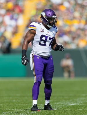 Sep 16, 2018: Minnesota Vikings defensive end Everson Griffen (97) during the game against the Green Bay Packers at Lambeau Field.
