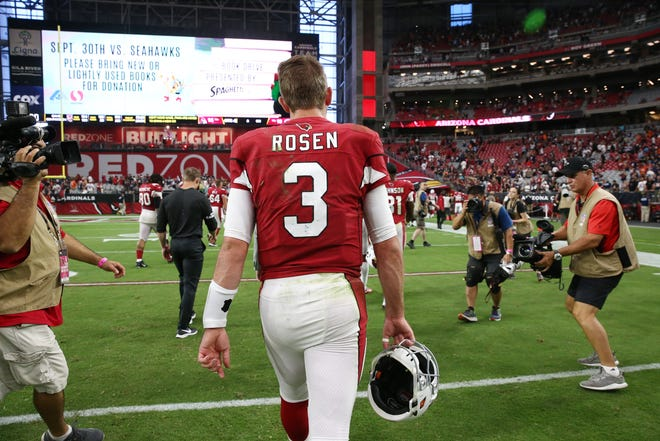 Arizona Cardinals quarterback Josh Rosen walks to the locker room after their 16-14 loss to the Chicago Bears at State Farm Stadium in Glendale, Ariz.