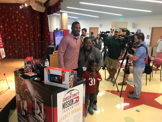 David Johnson visited Cardon Children's Medical Center on Monday to donate video-games to the hospital