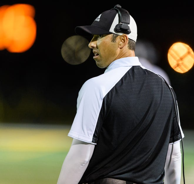 Saguaro's head coach Jason Mohns on the sideline of their high school football game against Peoria on Friday, Nov. 10, 2017, at Saguaro High School in Scottsdale, Ariz.