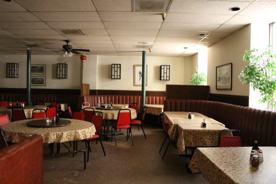 The dining room inside Sing High Chop Suey House restaurant in Phoenix.