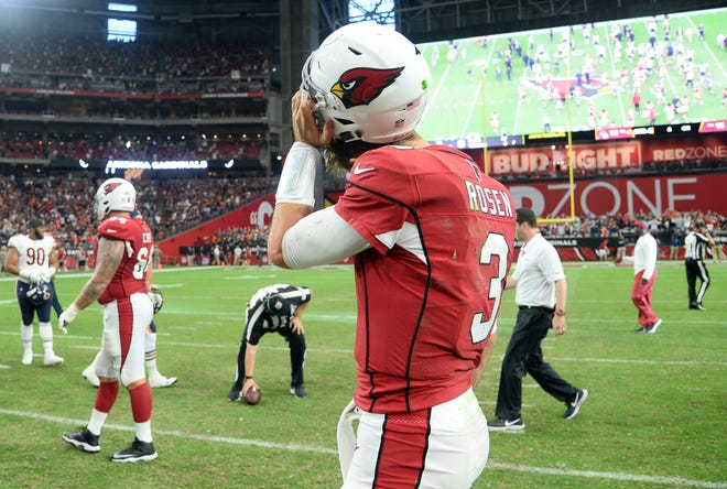 Arizona Cardinals quarterback Josh Rosen (3) reacts after the game against the Chicago Bears at State Farm Stadium.