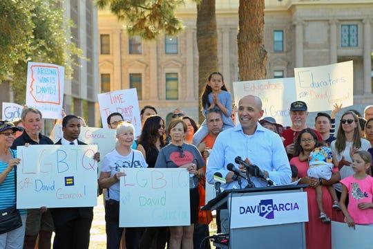 Arizona Democrat David Garcia announces his bid for governor at the state capitol Wednesday, April 121, 2017 in Phoenix, Ariz.