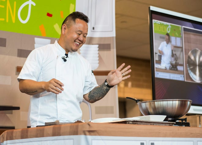 Chef Jet Tila gives a cooking demonstration Tuesday, Sept. 25, 2018 at Marysville High School.  In addition to the demonstration by Tila, who has appeared on shows such as Chopped, Cutthroat Kitchen and Iron Chef America, the school also offered special lunches made from recipes out of his cook book.