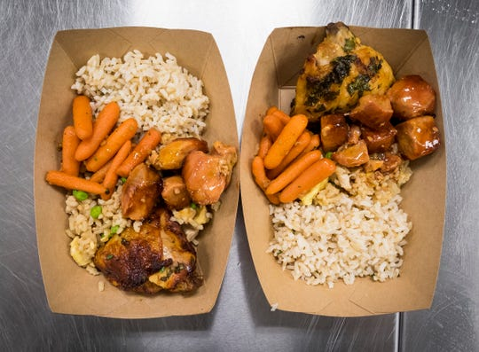 For lunch on Tuesday, Sept. 25, 2018, students at Marysville High School were given an option of sweet and sour pork, Hawaiian fried rice or brown rice, roasted carrots, broccoli or cucumbers and thai BBQ chicken. The food was prepared in conjunction with a presentation by Chef Jet Tila.