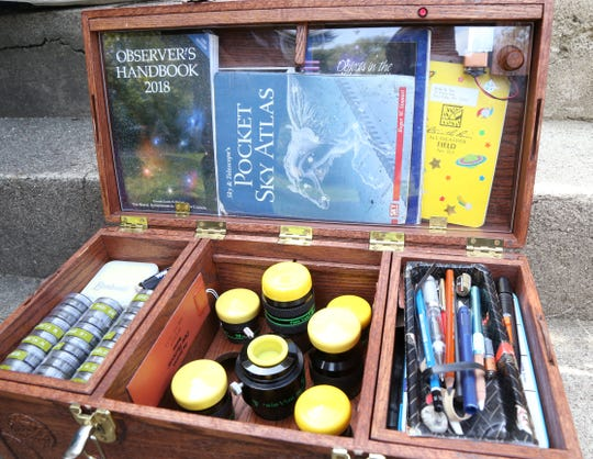 Inside Willie Yee's telescope eyepiece case outside his home in New Paltz on Sept. 19, 2018.