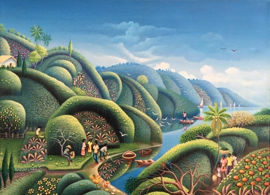 """""""Shire People"""" by Mario Montilus is an example of the artwork that will be featured this weekend at the 18th annual Vassar Haiti Project art sale and auction."""