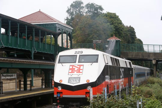 A Metro-North train to Grand Central departs Poughkeepsie Station on Sept. 25, 2018.