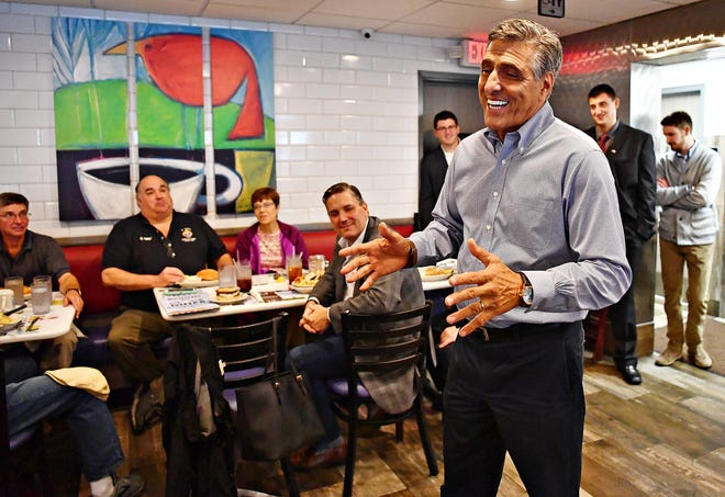 Congressman Lou Barletta (R-PA), the Republican nominee for U.S. Senate, addresses constituents at Round the Clock Diner in Manchester Township, Tuesday, Sept. 25, 2018. Dawn J. Sagert photo